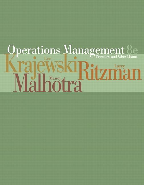 operations management krajewski ritzman malhotra Operations management by manoj k malhotra,  lee j krajewski is professor emeritus at the ohio state university and professor emeritus at the university of notre .
