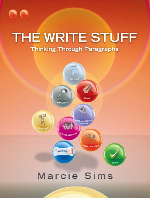 the write stuff thinking through essays by marcie sims The write stuff: thinking through essays (3rd edition) by marcie sims paperback, 704 pages, published 2014: isbn-10: 0-321-89988-1 / 0321899881 isbn-13: 978-0-321-89988-0 / 9780321899880.