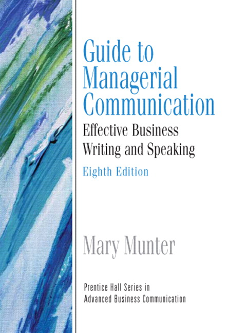 Business Communication Book Cover ~ Munter guide to managerial communication pearson