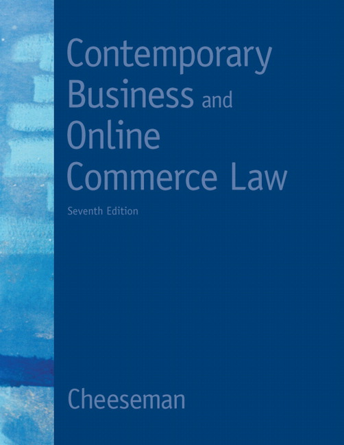 Cheeseman contemporary business and online commerce law pearson contemporary business and online commerce law fandeluxe Choice Image