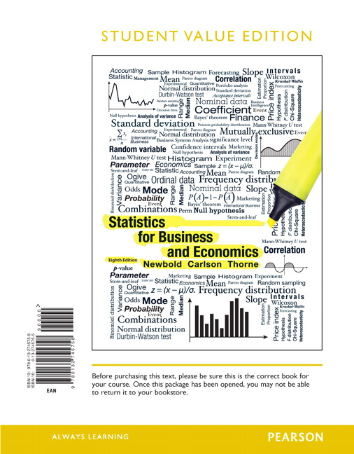 Newbold carlson thorne statistics for business and economics statistics for business and economics student value edition 8th edition fandeluxe Gallery