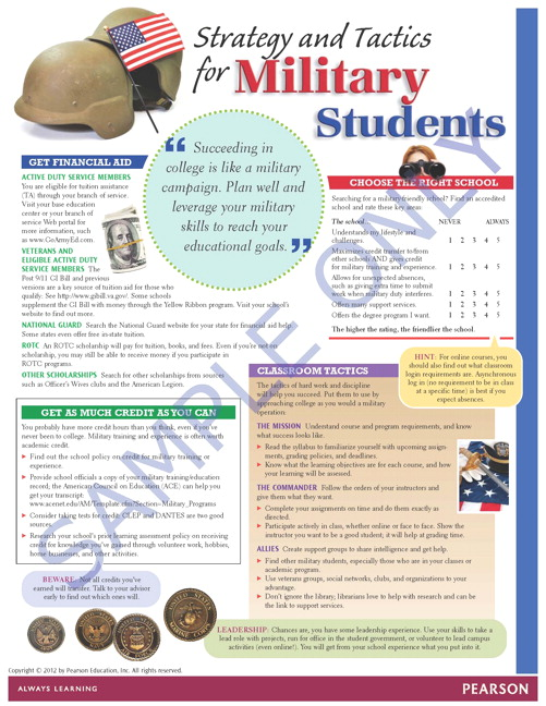 Success Tips: Veterans/Military Returning Students