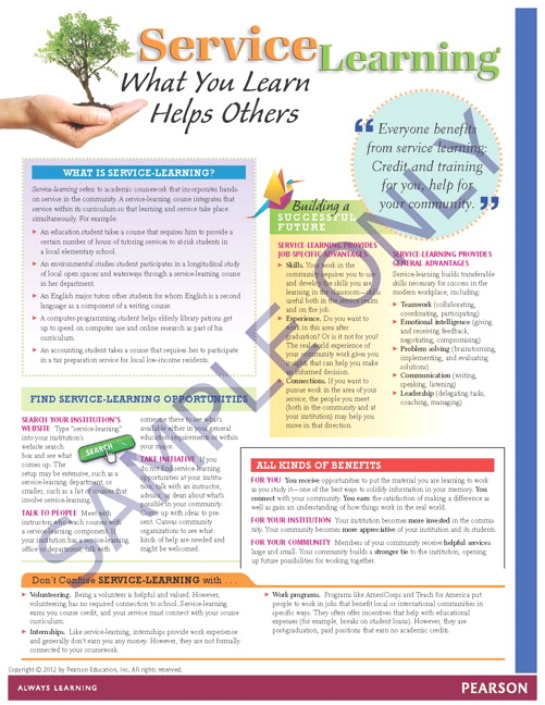 Success Tips: Service Learning What You Learn Helps Others