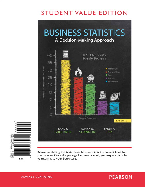 Groebner shannon fry business statistics pearson business statistics student value edition 9th edition groebner fandeluxe Image collections