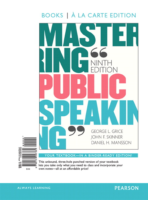 Grice skinner mansson mastering public speaking pearson mastering public speaking books a la carte edition plus new mylab communication for public speaking access card package 9th edition fandeluxe Images
