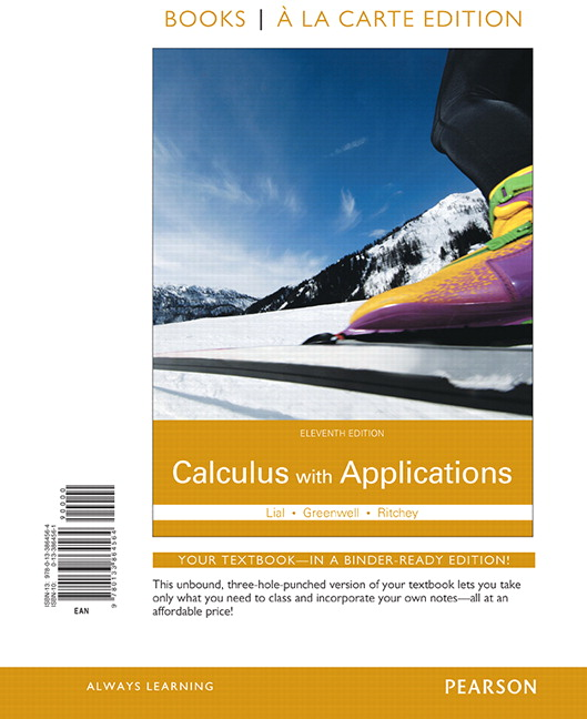 Lial, Greenwell & Ritchey, Calculus with Applications, 11th Edition