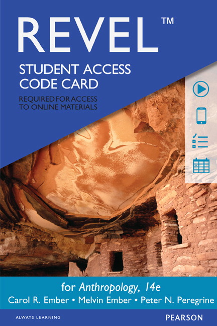 Ember ember peregrine anthropology pearson revel for anthropology access card 14th edition fandeluxe Image collections