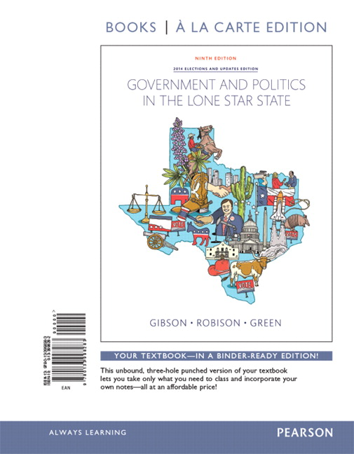 Gibson robison revel for government and politics in the lone star government and politics in the lone star state books a la carte edition 9th edition fandeluxe Choice Image