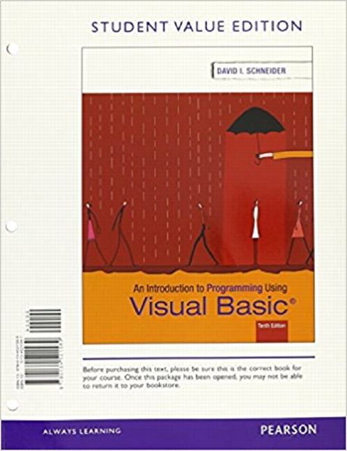 Schneider, Introduction to Programming Using Visual Basic