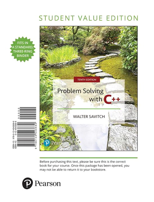 Savitch, Problem Solving with C++, 10th Edition | Pearson