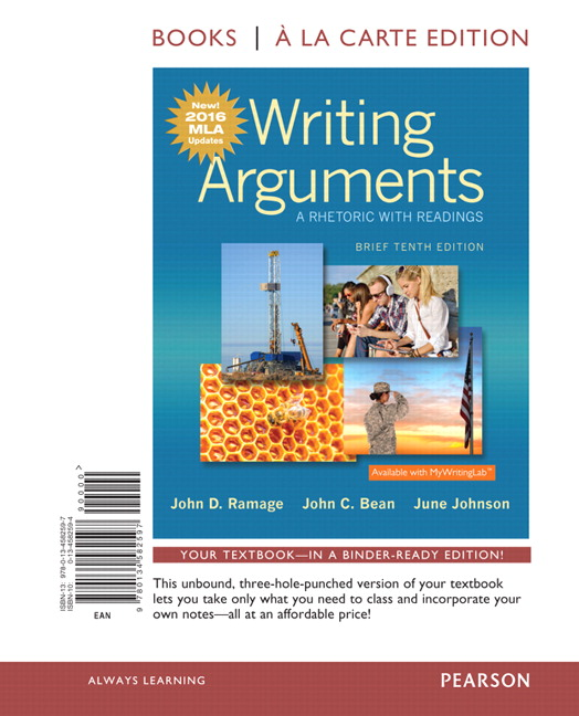 Ramage bean johnson writing arguments a rhetoric with writing arguments brief edition books a la carte edition mla update edition 10th edition fandeluxe Image collections