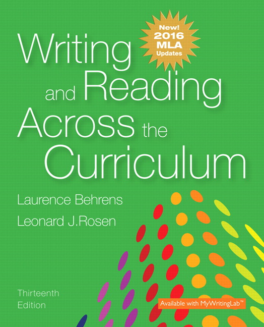 Behrens rosen writing and reading across the curriculum mla writing and reading across the curriculum fandeluxe Image collections