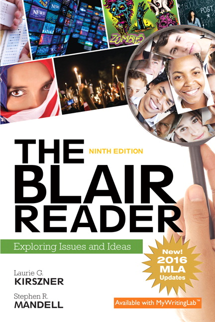 Kirszner mandell blair reader the exploring issues and ideas blair reader the exploring issues and ideas mla update 9th edition fandeluxe Image collections