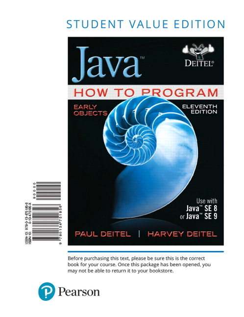 Deitel Deitel Java How To Program Early Objects 11th Edition Pearson