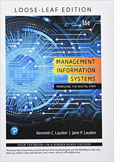Laudon Laudon Management Information Systems Managing The Digital Firm Student Value Edition Pearson