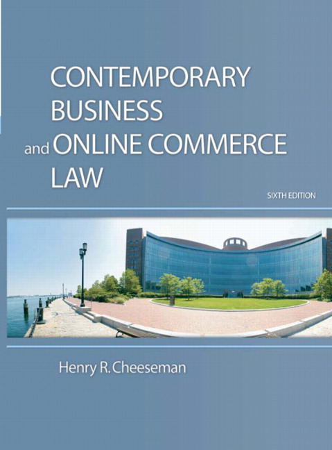 Cheeseman contemporary business and online commerce law pearson contemporary business and online commerce law 6th edition cheeseman fandeluxe Choice Image