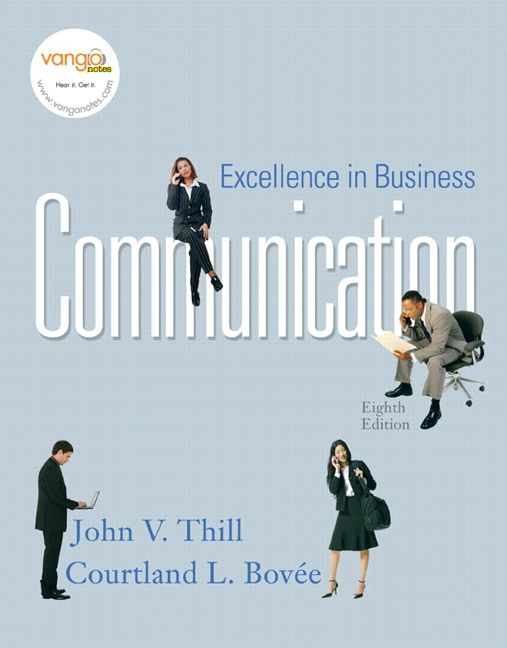 Business Communication Book Cover ~ Thill bovee excellence in business communication pearson