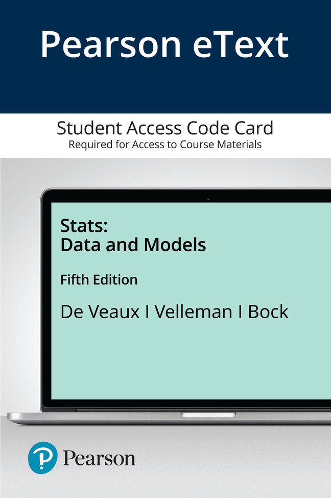 Pearson eText Stats: Data and Models -- Access Card