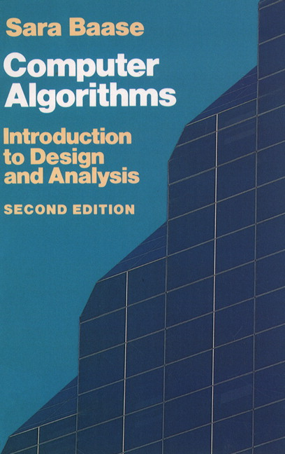 Baase Van Gelder Computer Algorithms Introduction To Design And