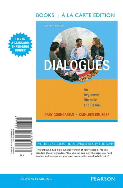 dialogues gary goshgarian Encuentra dialogues: an argument rhetoric and reader de gary goshgarian, kathleen krueger, janet barnett minc (isbn: 9780723417965) en amazon envíos gratis a.
