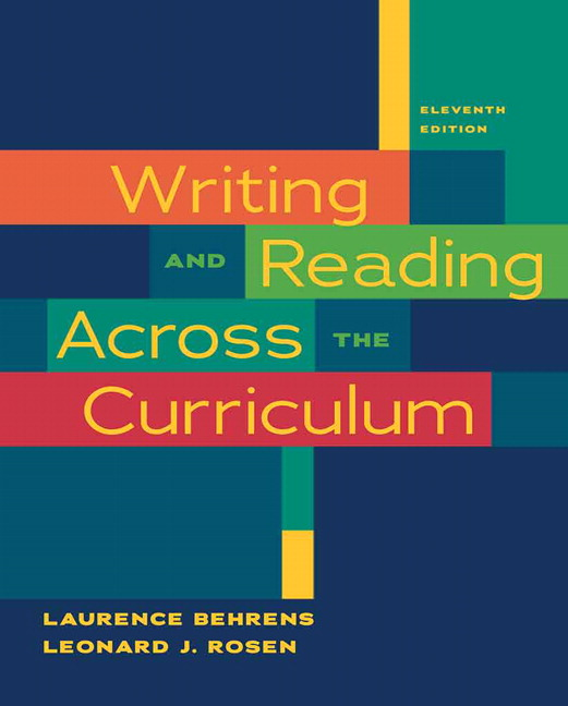 Behrens rosen writing and reading across the curriculum pearson book cover fandeluxe Choice Image