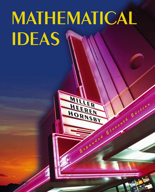 Solutions manual for mathematical ideas expanded edition 11th.