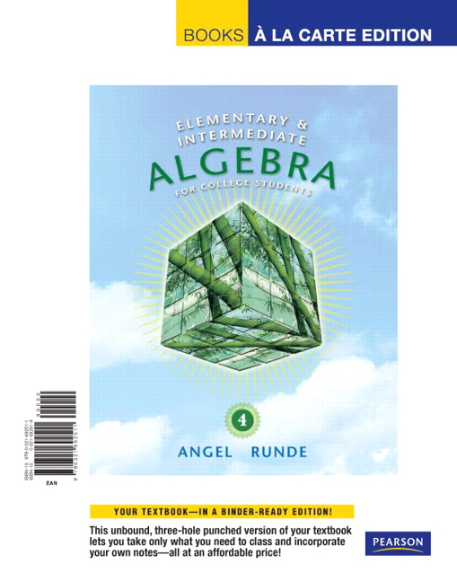 Angel runde elementary intermediate algebra for college elementary intermediate algebra for college students books a la carte edition 4th edition fandeluxe Image collections
