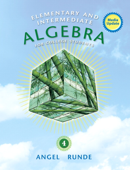 Angel runde elementary intermediate algebra for college book cover fandeluxe Image collections