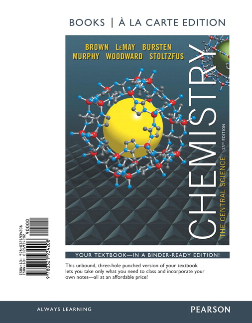 Chemistry The Central Science 13th Edition Hardcover Textbook ISBN 97803219
