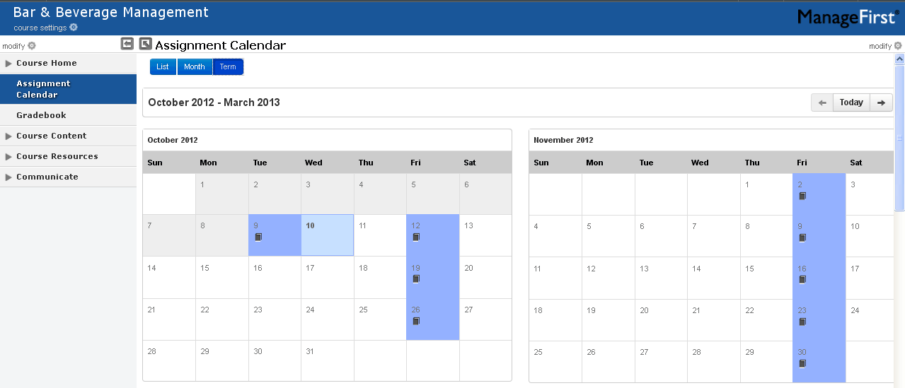 Assignment Calendar and Gradebook